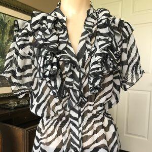 L8TER black & white ruffle blouse Medium